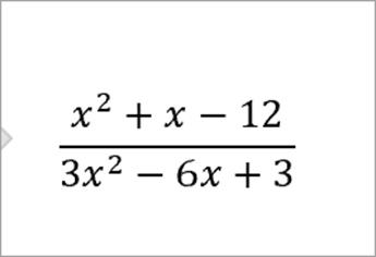 vergelijking: x kwadraat plus x min 12 over 3x kwadraat min 6x plus 3