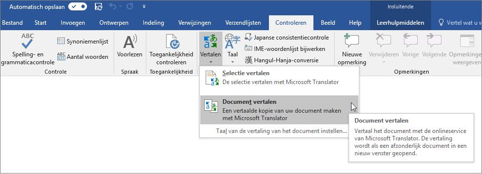 Lint in Word met de optie Document vertalen