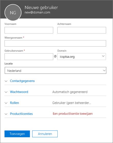 Schermafbeelding van velden die moeten worden ingevuld wanneer u een gebruiker toevoegt aan Office 365 voor Bedrijven