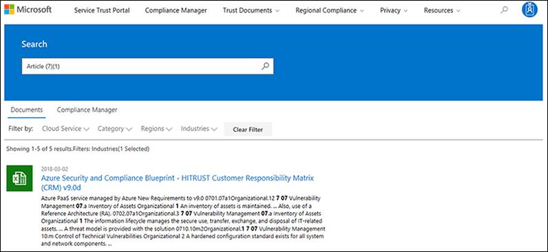 Service vertrouwen Portal - zoeken in documenten met toegepast filter