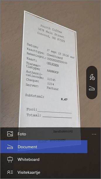 Wanneer Office Lens wordt gestart, kiest u de gewenste modus.