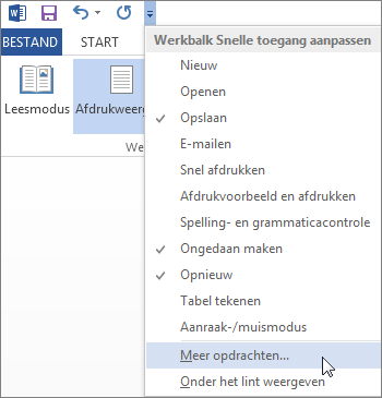 Het menu Werkbalk Snelle toegang