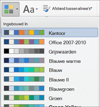 Opties voor kleur wanneer u klikt op de knop kleuren