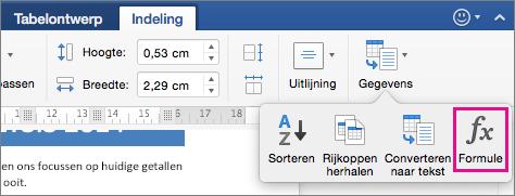 Klik op het tabblad Indeling op Gegevens om het menu te bekijken en klik op Formule.