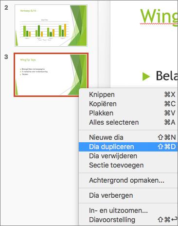 Schermafbeelding van een geselecteerde dia en de optie Dia dupliceren die in het snelmenu is geselecteerd.