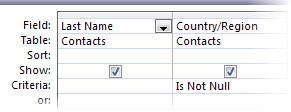 Afbeelding van ontwerpfunctie voor query's met het criterium not