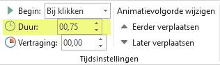 De optie Duur voor animatie-effecten in PowerPoint