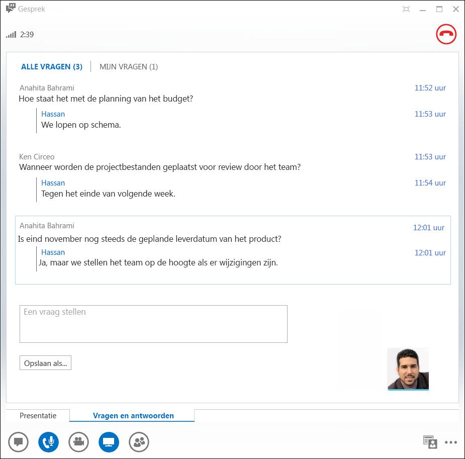 Schermafbeelding van Q&A Manager