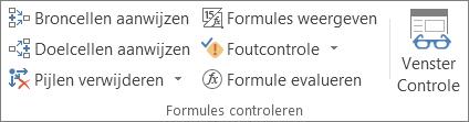 Groep Formules controleren op het tabblad Formules