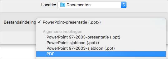 Toont de PDF-optie in de lijst Bestandsindelingen in het dialoogvenster Opslaan als in PowerPoint 2016 voor Mac.