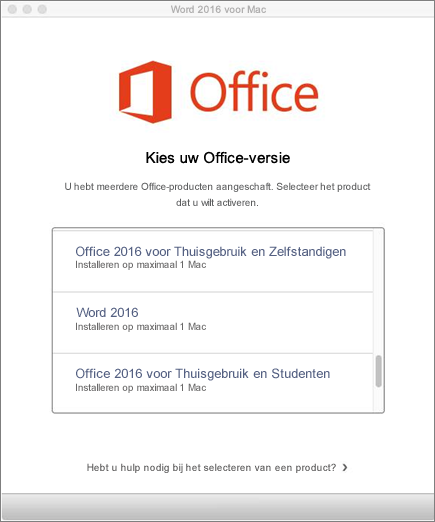 Licentietype voor Office 2016 voor Mac kiezen