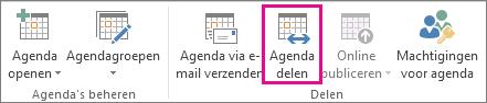 Knop Agenda delen in het tabblad Start in Outlook 2013
