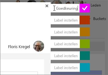 De namen van de etiketten instellen in taakgegevens