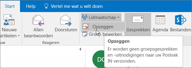 Gebruikers kunnen zich afmelden bij een groep, waarna er geen e-mails meer worden verzonden naar hun Postvak IN.