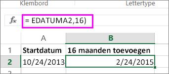 De formule ZELFDE.DAG gebruiken om maanden op te tellen bij een datum