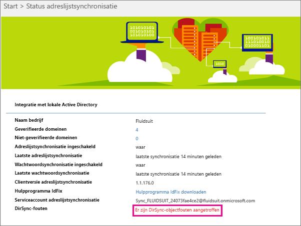 Op de pagina Status adreslijstsynchronisatie kunt u zien of er DirSync-objectfouten zijn opgetreden