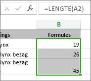 Voorbeeldgegevens voor grafiek