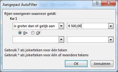 Dialoogvenster Aangepast AutoFilter