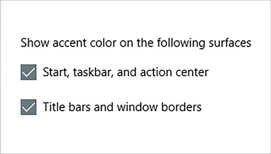 Selectievakjes accentkleur weergeven in de gebruikersinterface van persoonlijke kleuren