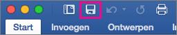 Het pictogram opslaan is gemarkeerd op het lint in Word 2016 voor Mac.