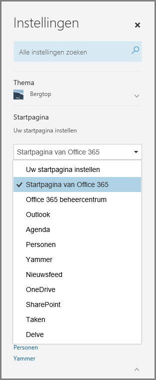 De startpagina van Office 365 wijzigen