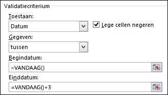 Instellingen voor validatiecriteria om datuminvoer te beperken tot een bepaalde periode