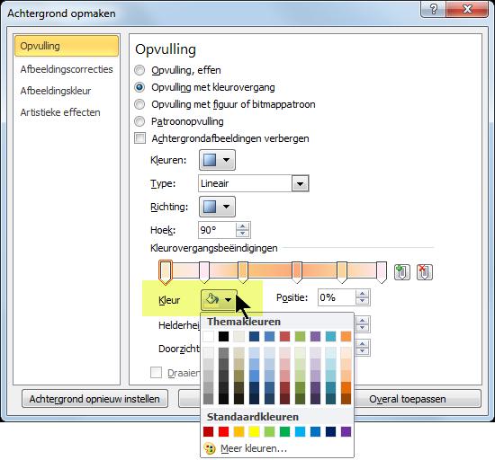 Voor een aangepast kleurovergangsschema selecteert u de eerste kleurovergangsbeëindiging en opent u vervolgens de Kleur-opties.