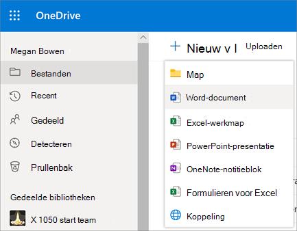 Nieuw menu Bestand of Map in OneDrive voor Bedrijven