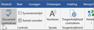 Document controleren op tabblad Controleren weergeven