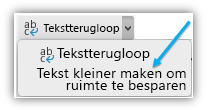 Schermafbeelding met de knop Tekst passend maken op het lint.