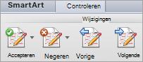 Opties onder Wijzigingen op het tabblad Controleren
