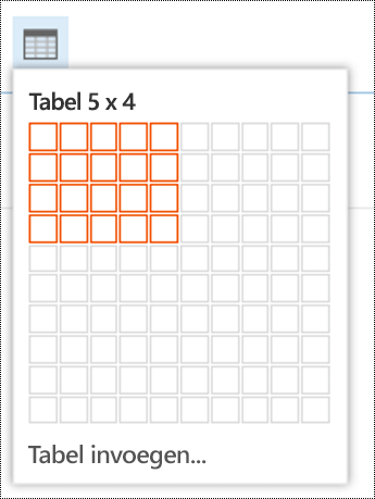 Een eenvoudige tabel toevoegen in de webversie van Outlook.