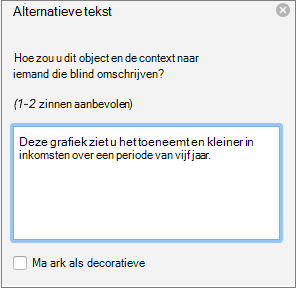 Deelvenster alternatieve tekst in Word