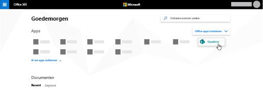 De startpagina van Office 365 met de SharePoint-app gemarkeerd