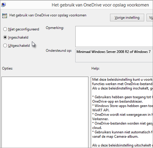 Instelling Gebruik van OneDrive voorkomen