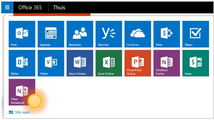 Schermafbeelding van de OneNote Class Notebook-app.