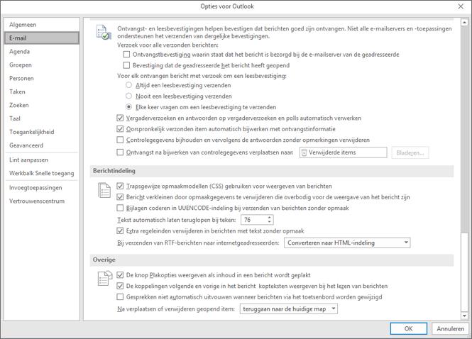 Pagina met opties voor Outlook Mail categorie gemarkeerd