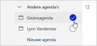 Schermafbeelding van familie agenda in het linkerdeelvenster