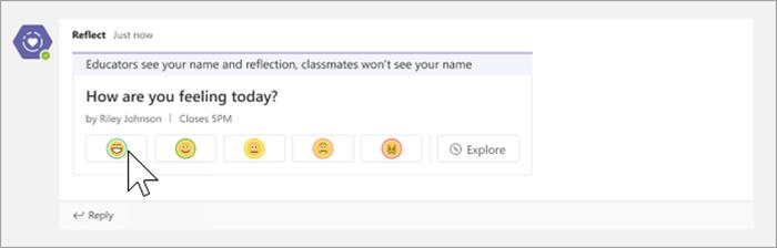 """screenshot van studentweergave van de reflect-app. 5 emoji's, variërend van opgetogen tot boos, staan onder de vraag """"Hoe voel je je vandaag?"""""""