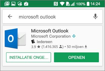 Tik op Openen om de Outlook-app te openen