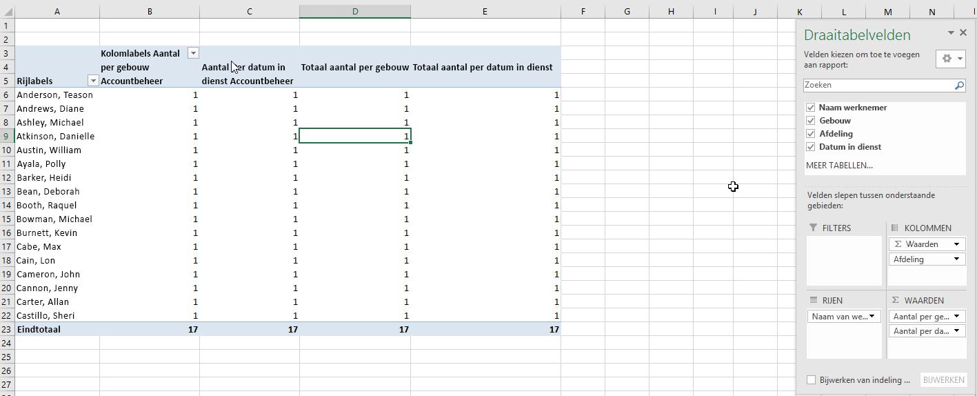 De velden voor de draai tabel selecteren