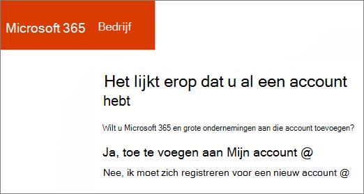 Klik op de Microsoft 365 voor bedrijven directe koppeling kopen, kiest u toevoegen aan uw huidige-account of Registreer u voor een nieuw account.