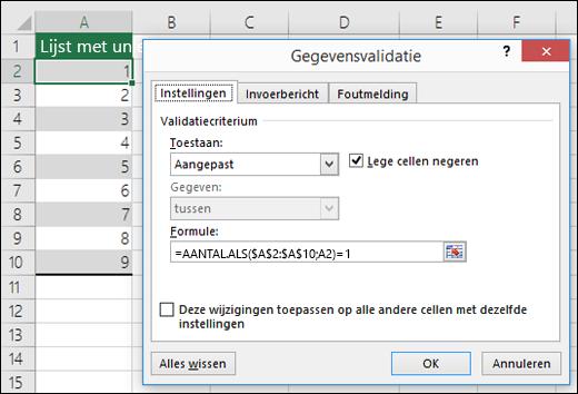 Voorbeeld 4: Formules in gegevensvalidatie