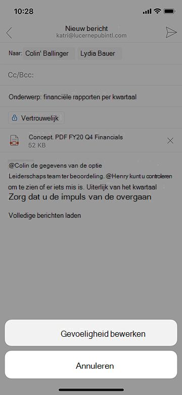 Gevoeligheid bewerken in Outlook Mobile