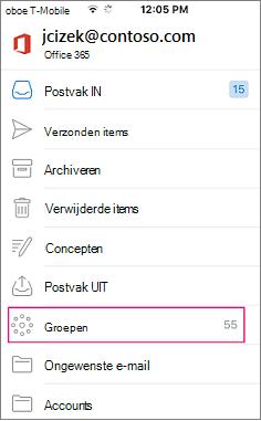 Groepen is een knooppunt in de mappenlijst in Outlook mobile