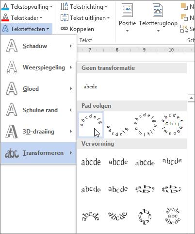 Een teksteffect met gebogen transformatie selecteren