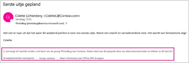 Alle e-mailberichten die gasten van groepsleden ontvangen, hebben een voettekst met instructies en koppelingen