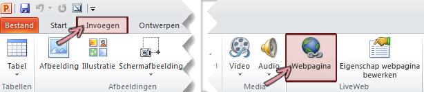 De invoegtoepassing LiveWeb is gevonden op het tabblad invoegen van het lint, uiterst rechts eind