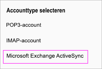 Microsoft Exchange ActiveSync selecteren