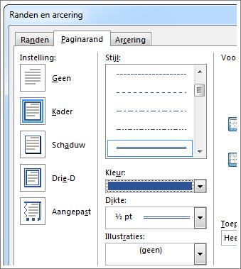Opties voor paginaranden instellen